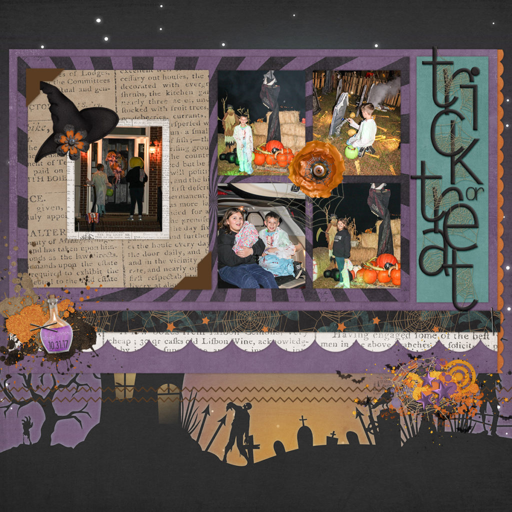 Trick or treating - 2017 - digital scrapbook page